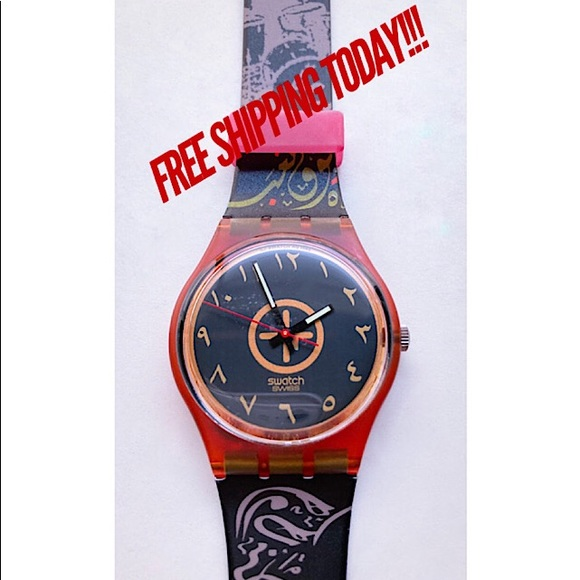 SWATCH Watch GR104 1989 Bar Oriental Arabic Letter